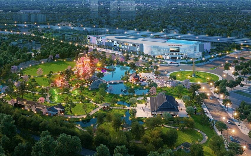 Vincom Mega Mall sở hữu vị trí đắc địa ngay đầu dự án Vinhomes Smart City.