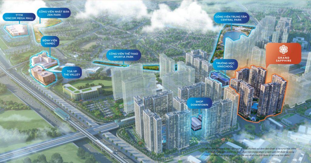 Vị trí GS2 và phân khu Grand Sapphire Vinhomes Smart City.