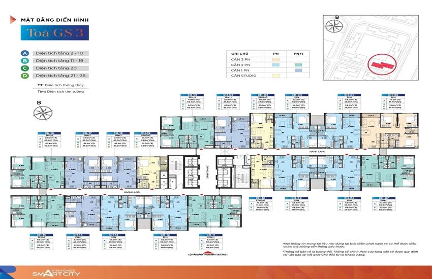 Mặt bằng tầng điển hình GS3 Vinhomes Smart City