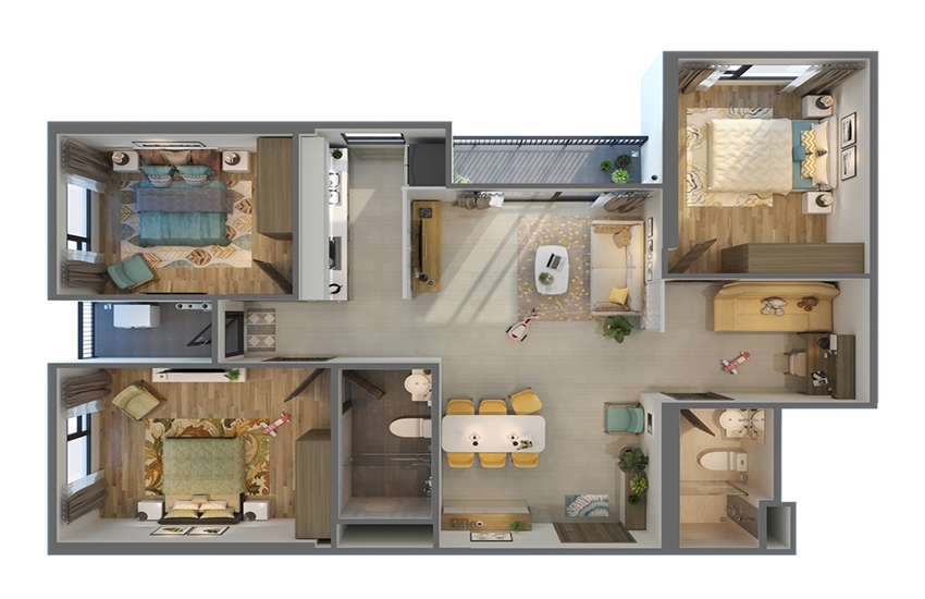 Phối cảnh 3D căn hộ 3PN Vinhomes Smart City