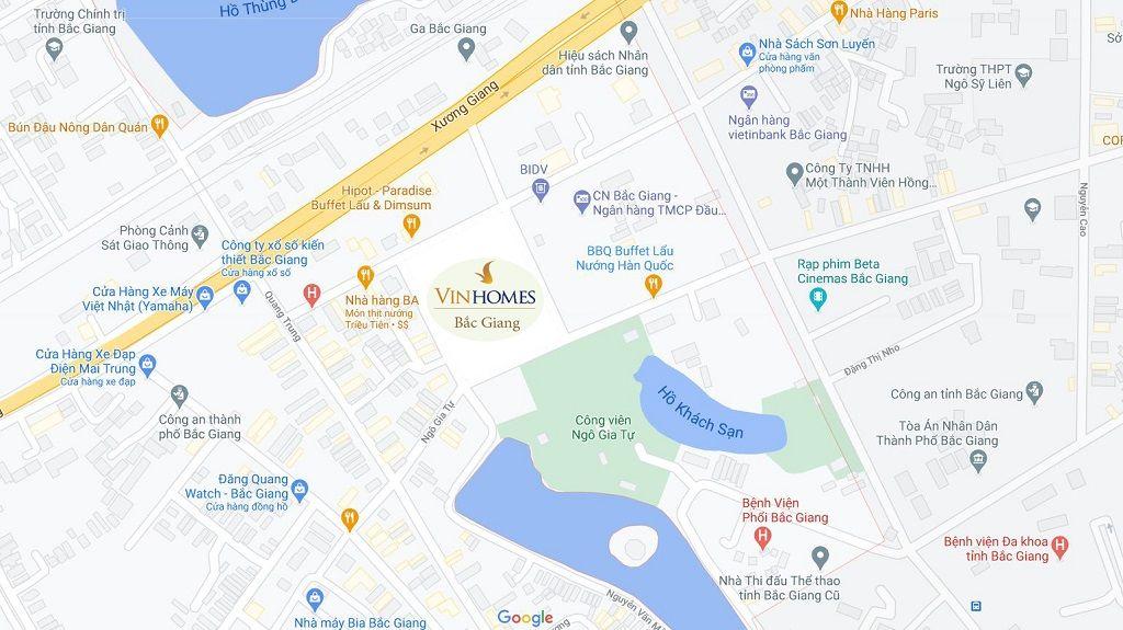 Bản đồ Vị trí Vinhomes Bắc Giang